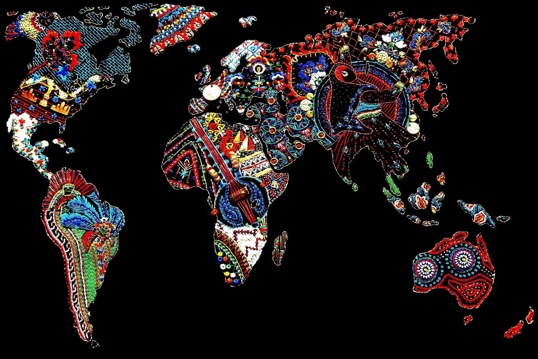 broderie d'un planisphère monde à la main par Brodeuses myrifik